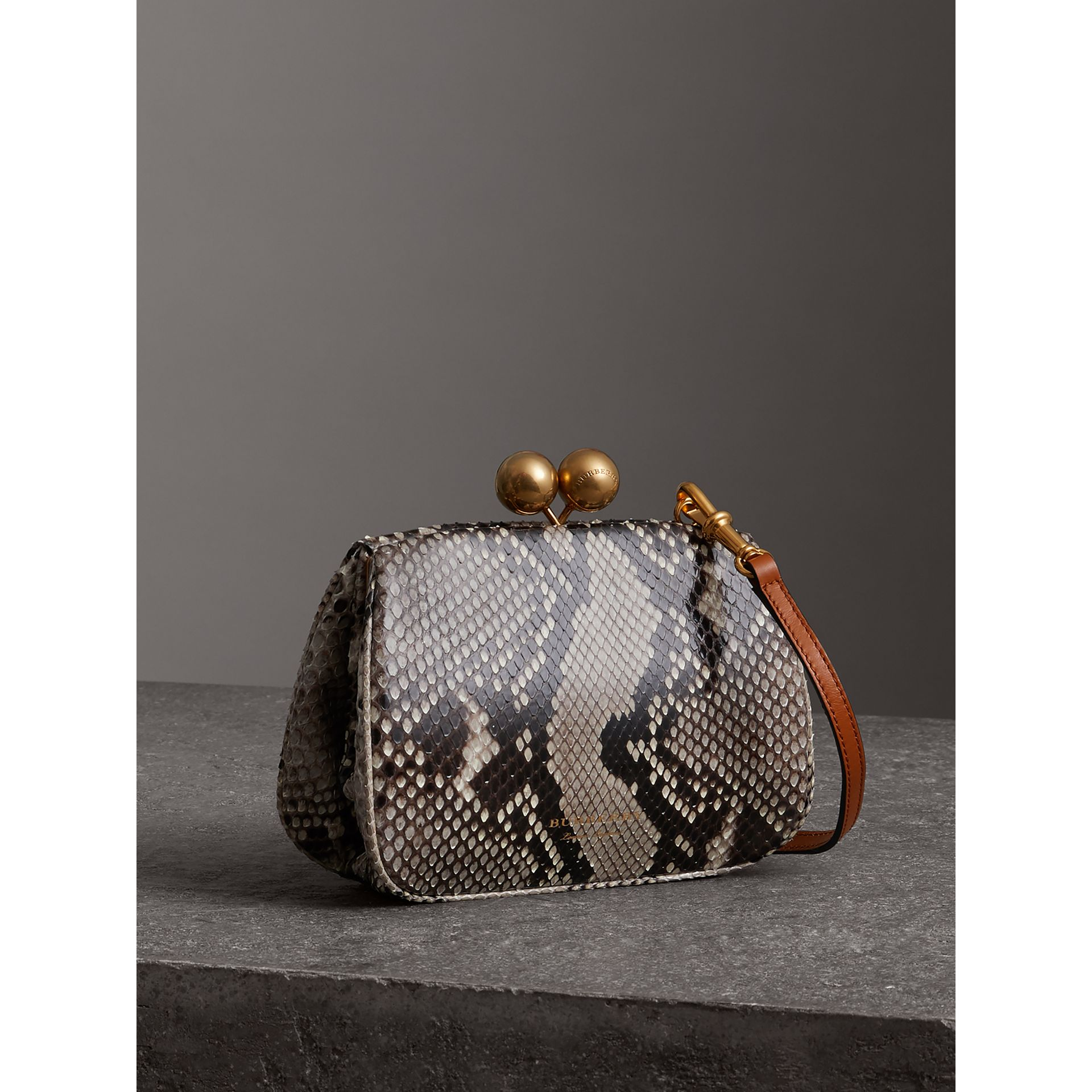 Small Python Frame Bag in Natural - Women | Burberry Singapore - gallery image 4