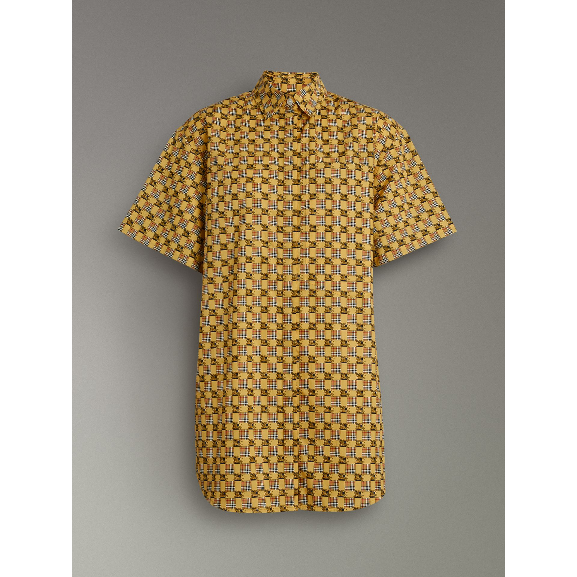 Short-sleeve Tiled Archive Print Cotton Shirt in Yellow - Women | Burberry United Kingdom - gallery image 3