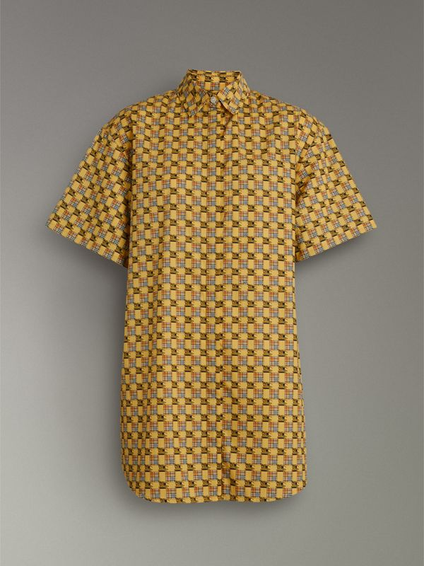 Short-sleeve Tiled Archive Print Cotton Shirt in Yellow - Women | Burberry United Kingdom - cell image 3