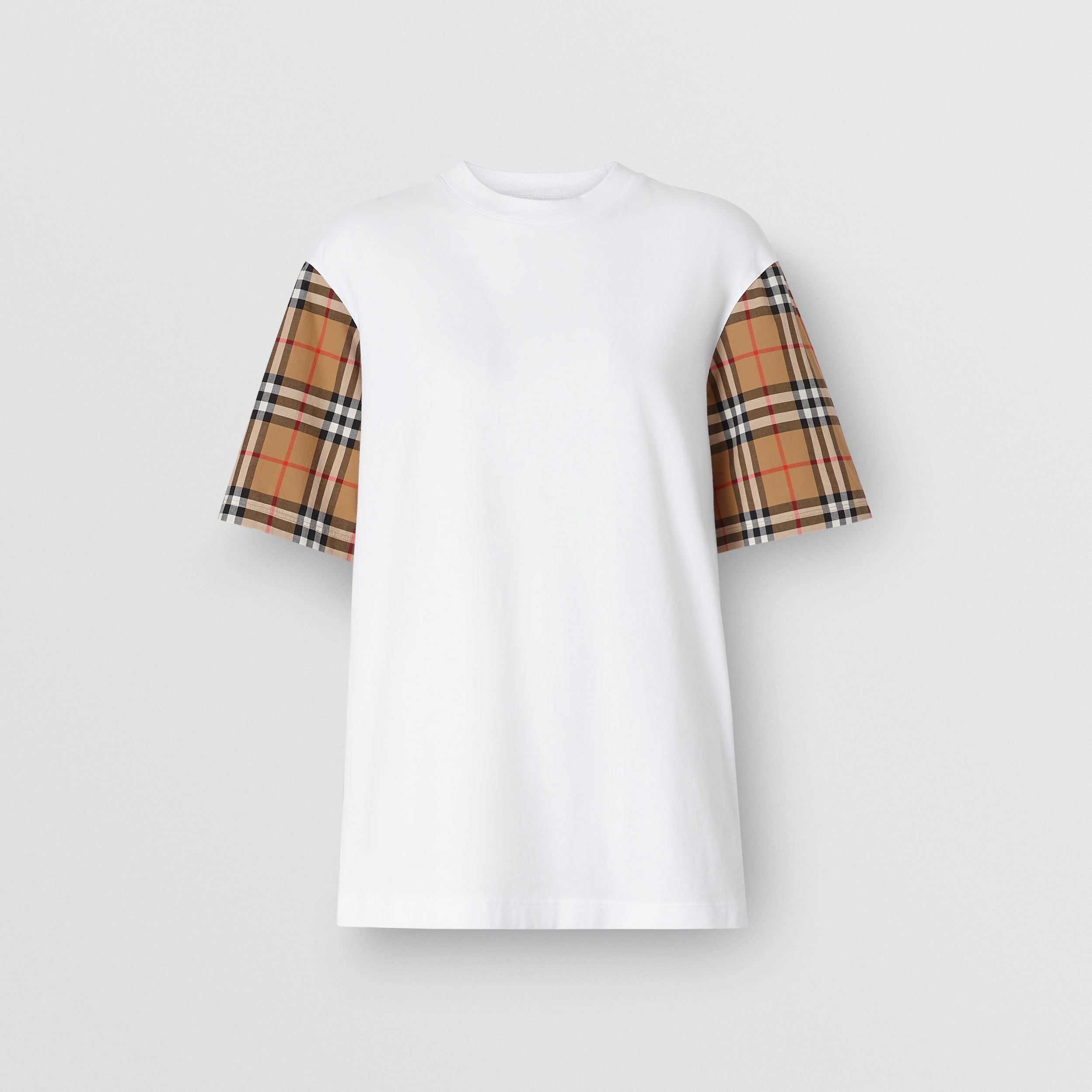 Vintage Check Detail Cotton T-shirt in White - Women | Burberry - 4