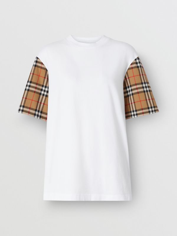Vintage Check Detail Cotton T-shirt in White - Women | Burberry - cell image 3