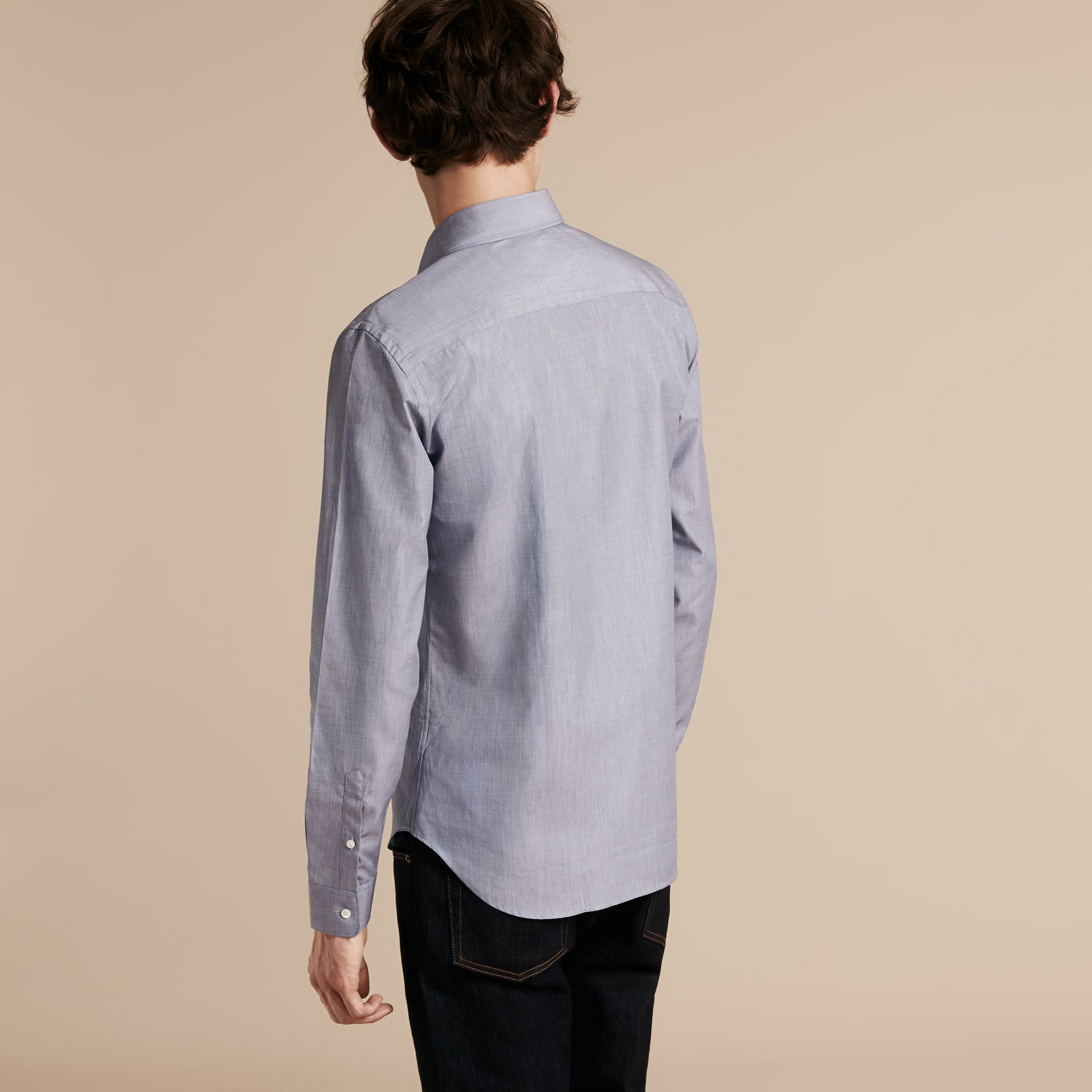 Light blue Mélange Cotton Shirt Light Blue - gallery image 3