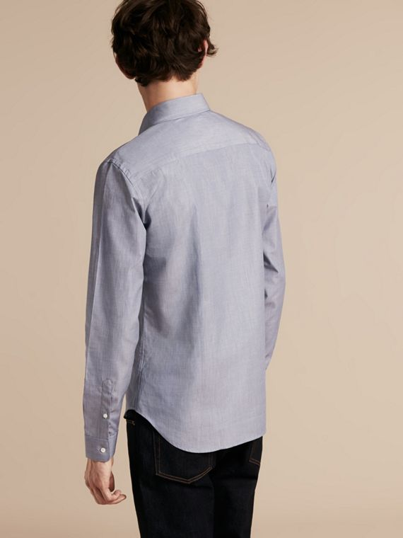 Light blue Mélange Cotton Shirt Light Blue - cell image 2