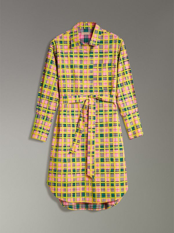 Painted Check Cotton Tie-waist Shirt Dress in Bright Coral Pink - Women | Burberry - cell image 3