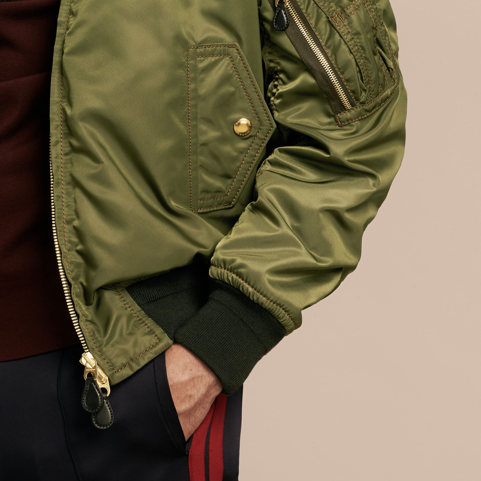 Light military green Oversize Bomber Jacket - gallery image 5