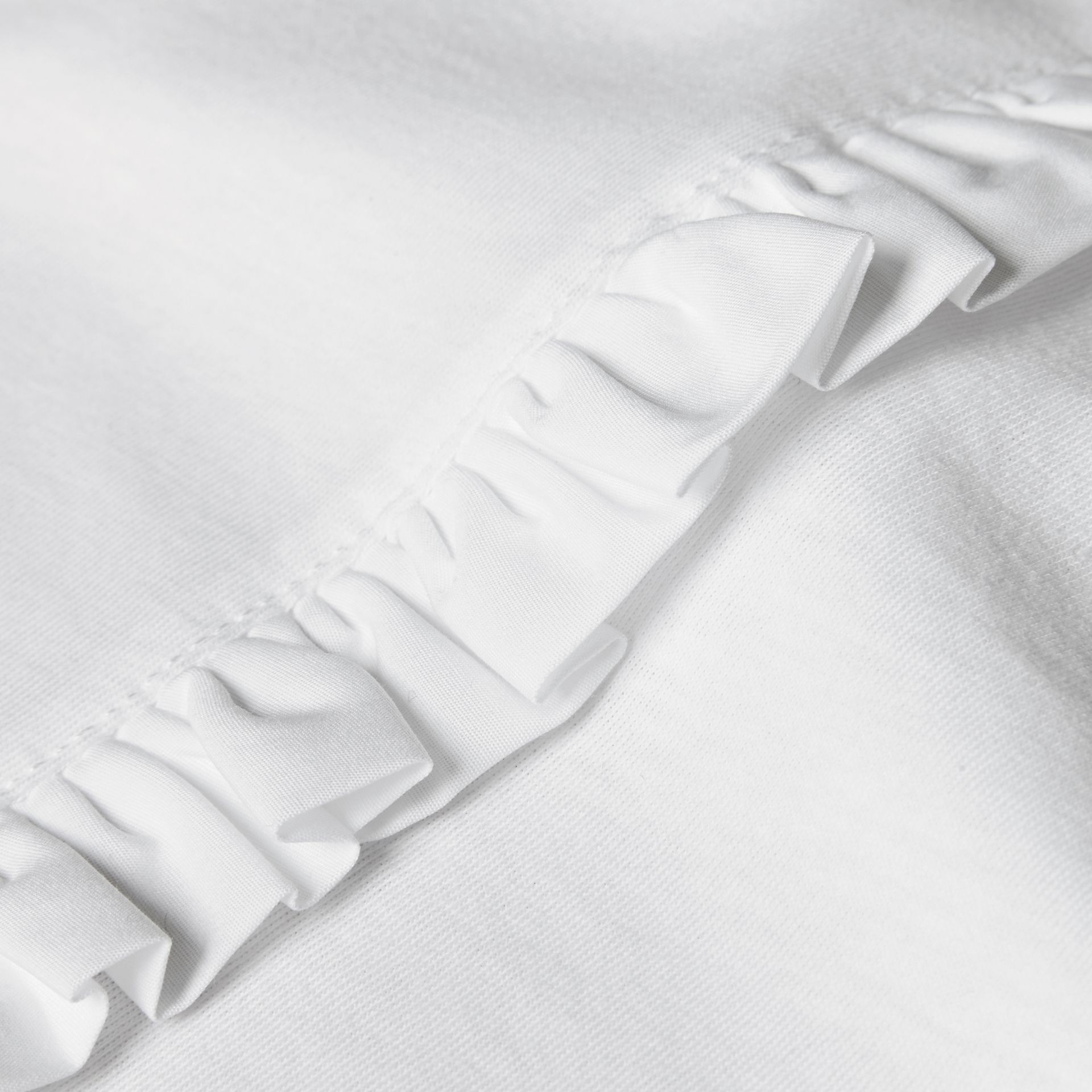 Ruffle Detail Cotton T-shirt in White - gallery image 2