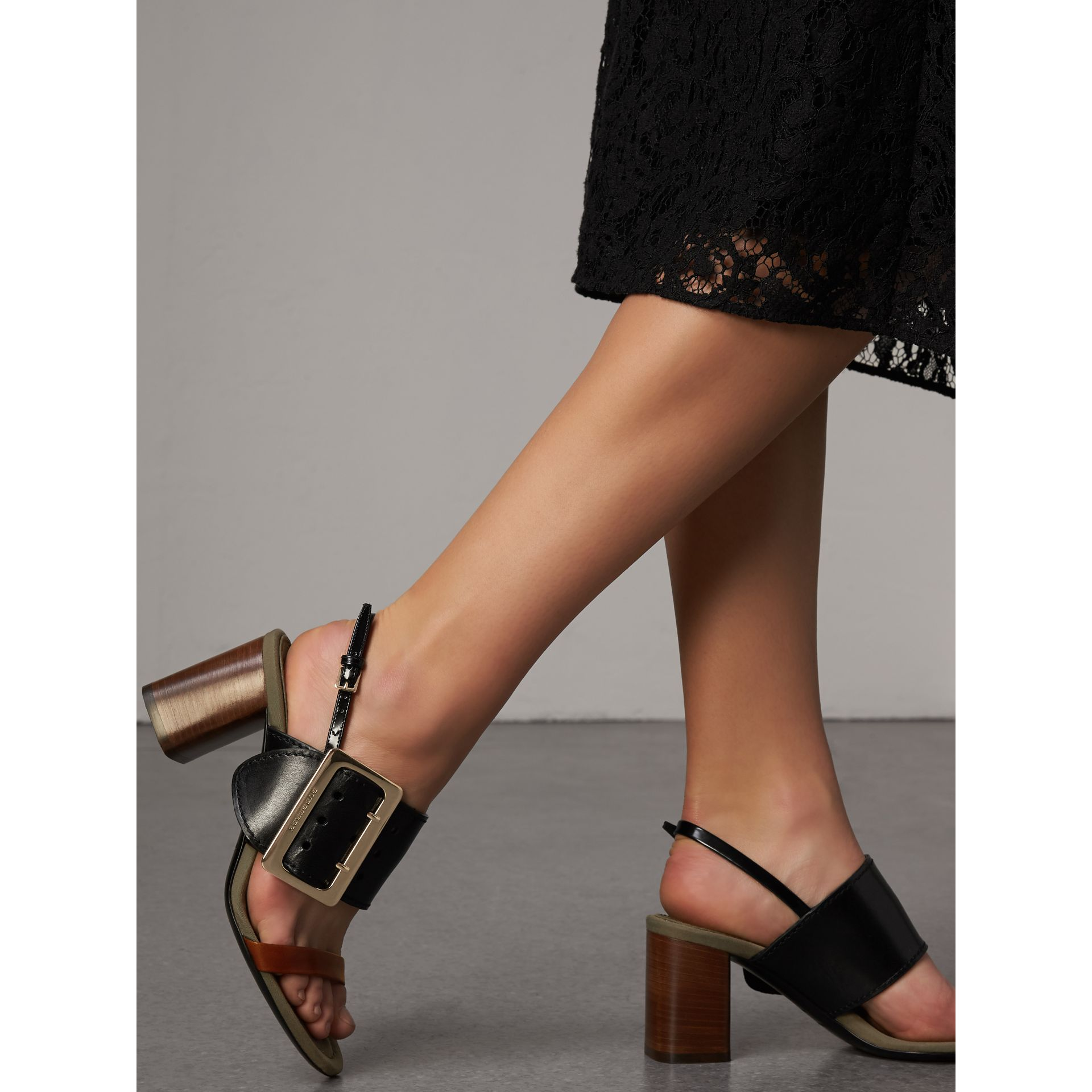 Buckle Detail Leather Sandals in Black - Women | Burberry Singapore - gallery image 3