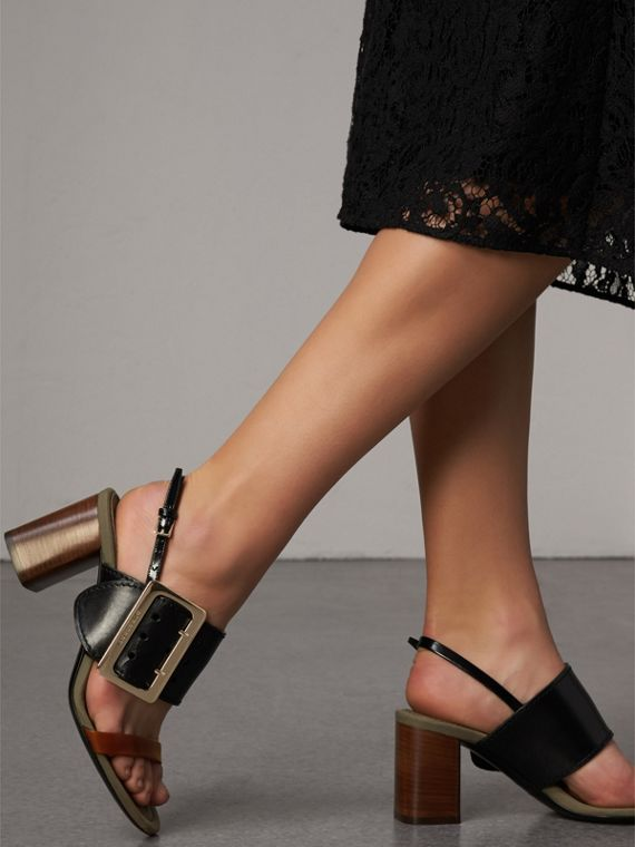 Buckle Detail Leather Sandals in Black - Women | Burberry Singapore - cell image 2