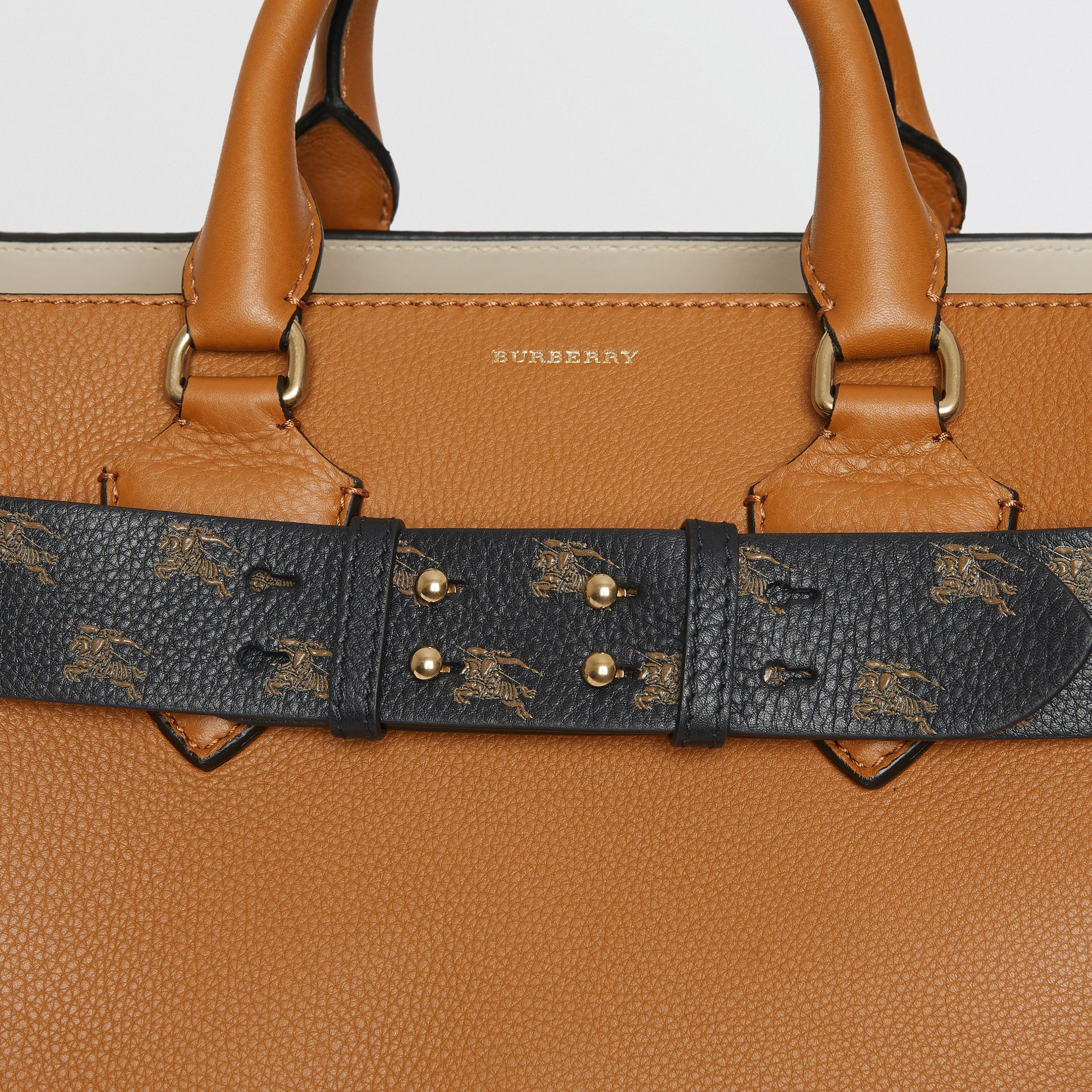 The Medium Belt Bag EKD Leather Belt in Black/hazelnut - Women | Burberry - gallery image 1