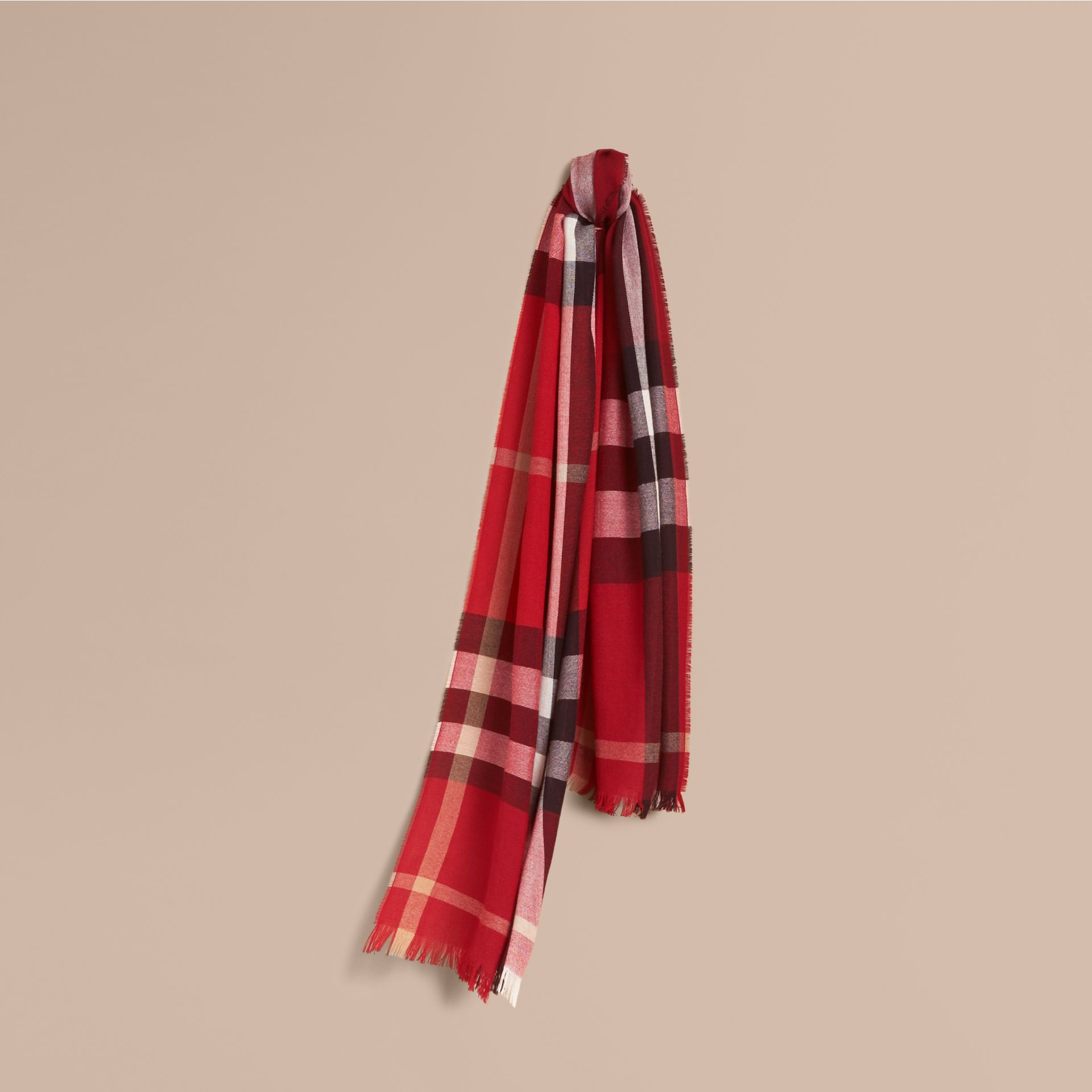 Lightweight Check Wool Cashmere Scarf in Parade Red | Burberry - gallery image 1