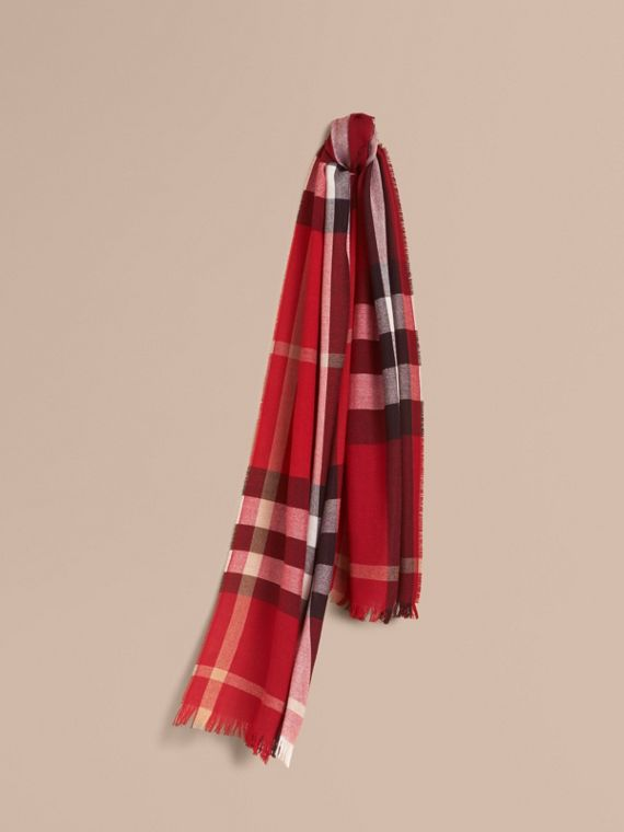 Lightweight Check Wool Cashmere Scarf in Parade Red