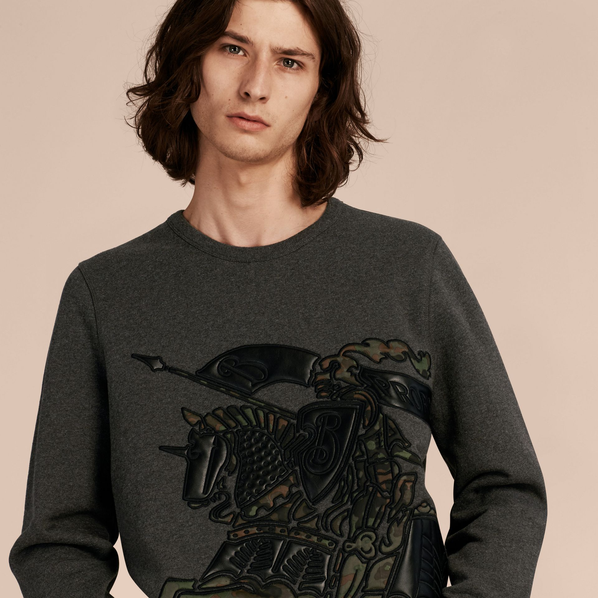 Charcoal melange Equestrian Knight Motif Cotton and Lambskin Sweatshirt - gallery image 5