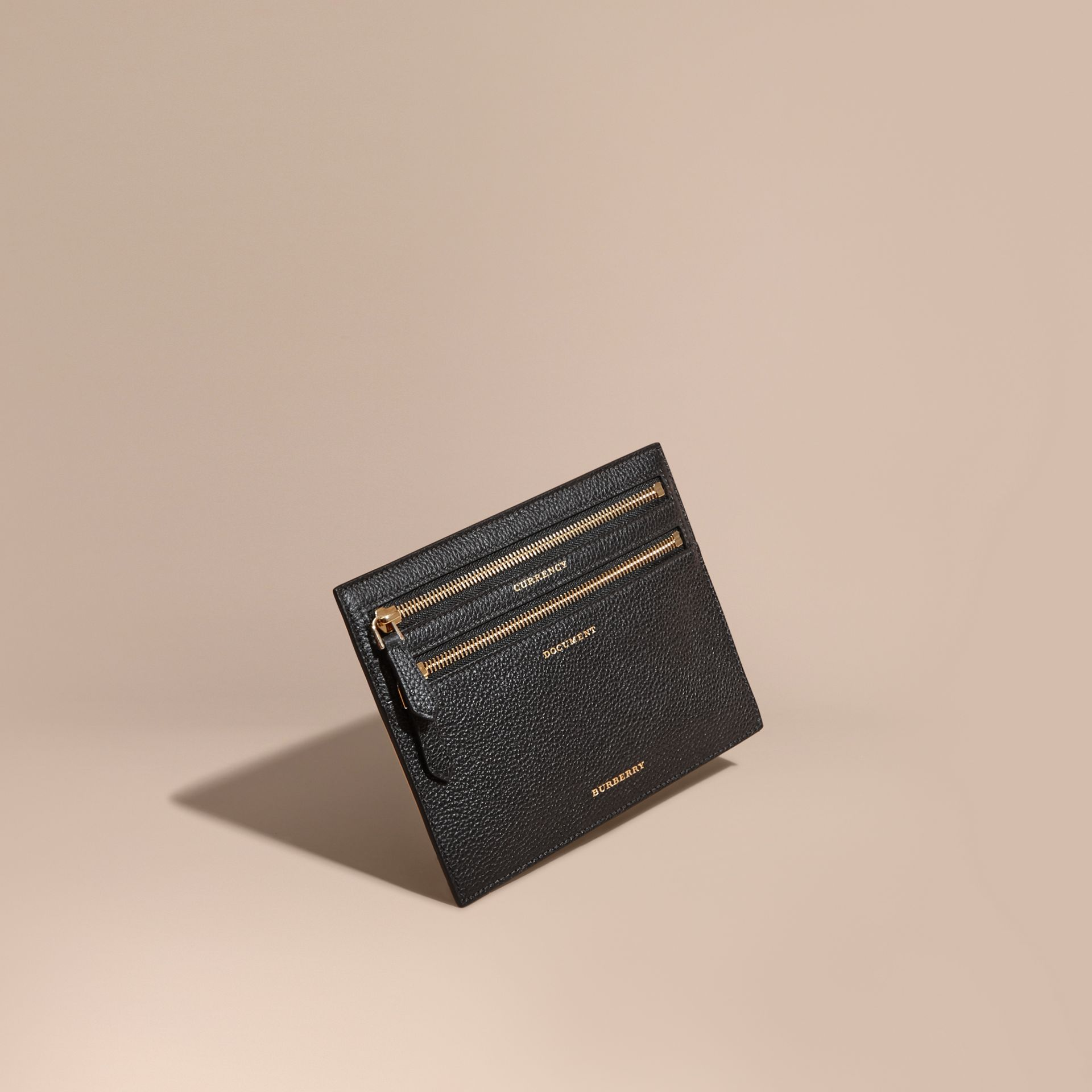 Grainy Leather Currency Wallet in Black | Burberry - gallery image 1