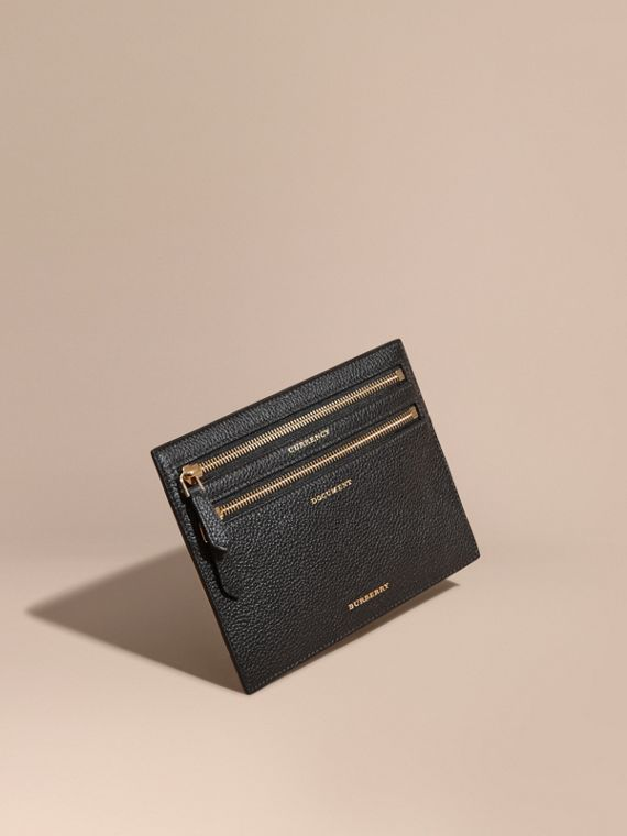 Grainy Leather Currency Wallet in Black