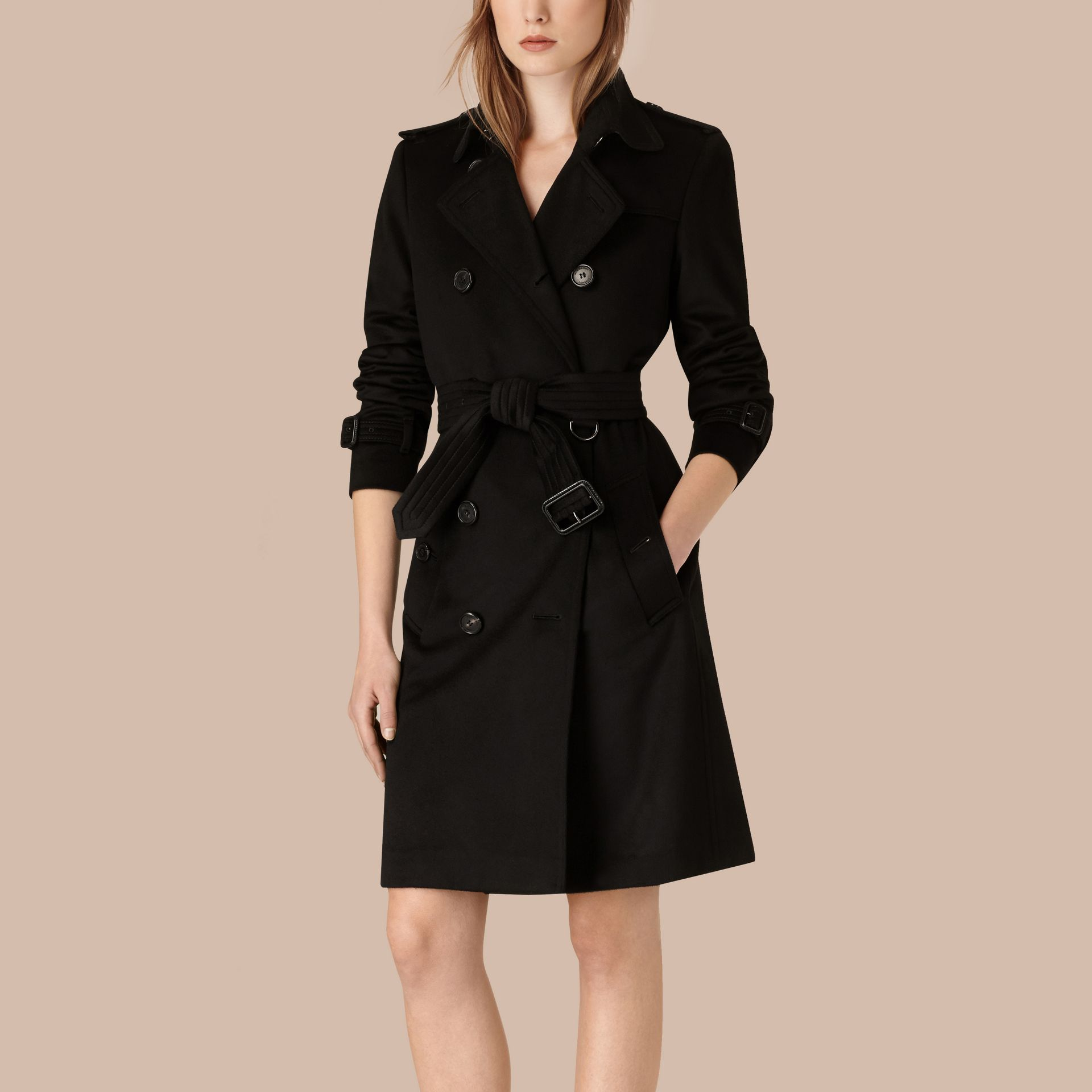 Black Kensington Fit Cashmere Trench Coat Black - gallery image 3