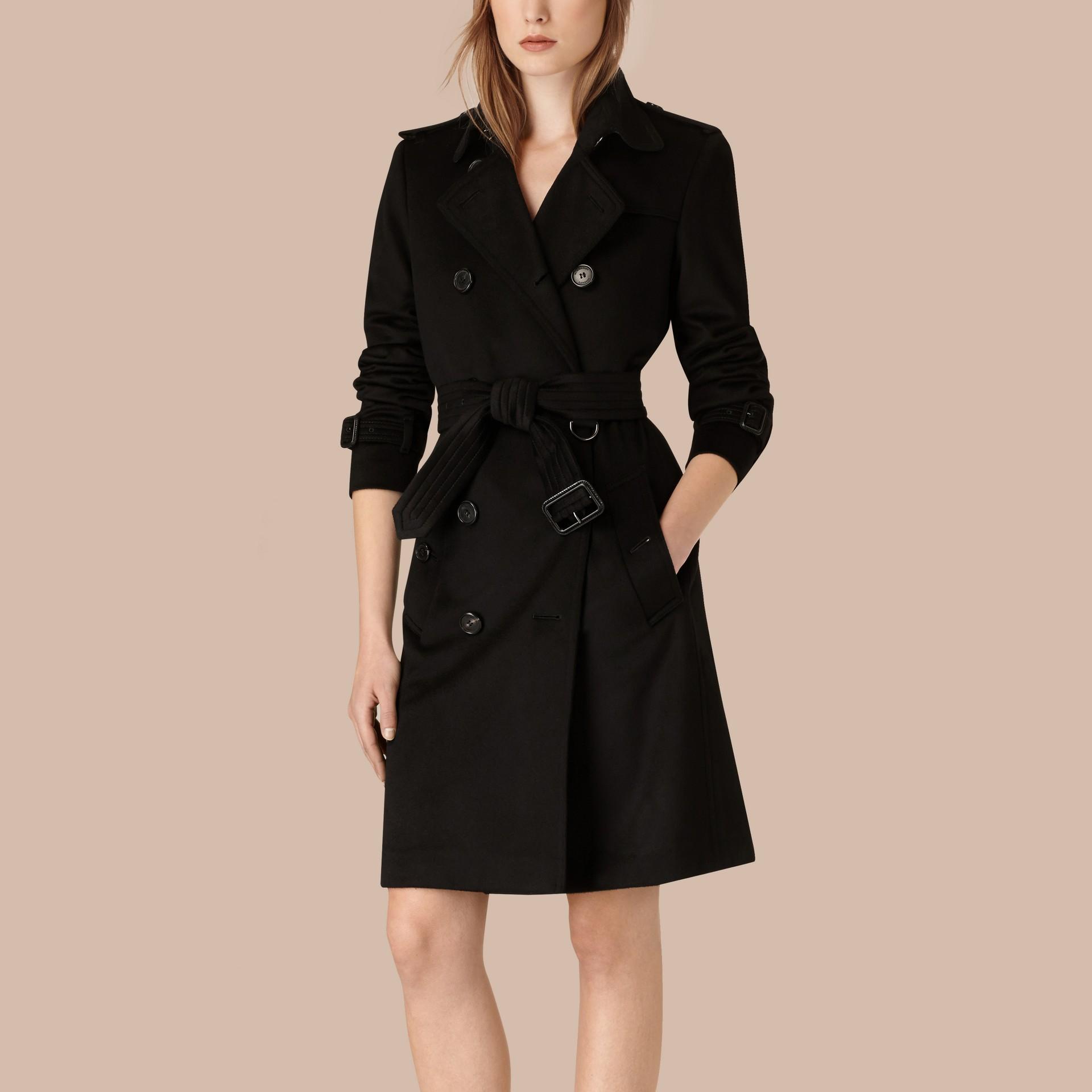 Nero Trench coat Kensington in cashmere Nero - immagine della galleria 3
