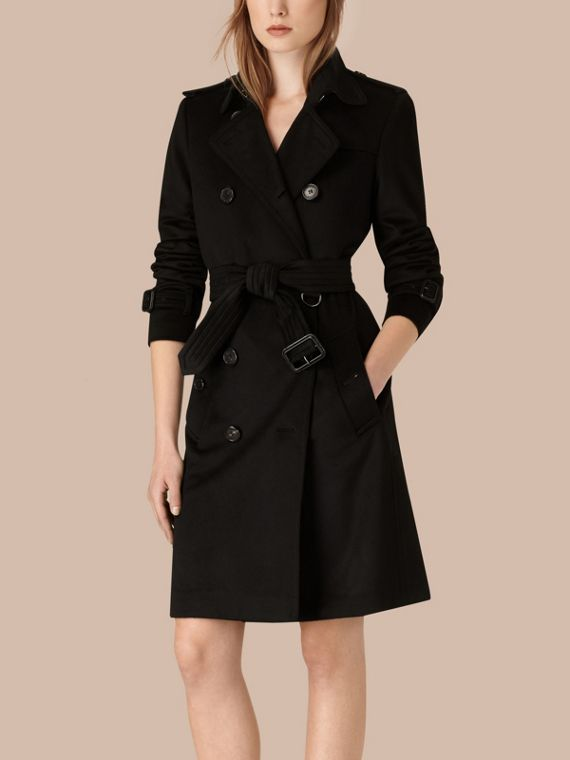 Black Kensington Fit Cashmere Trench Coat Black - cell image 2