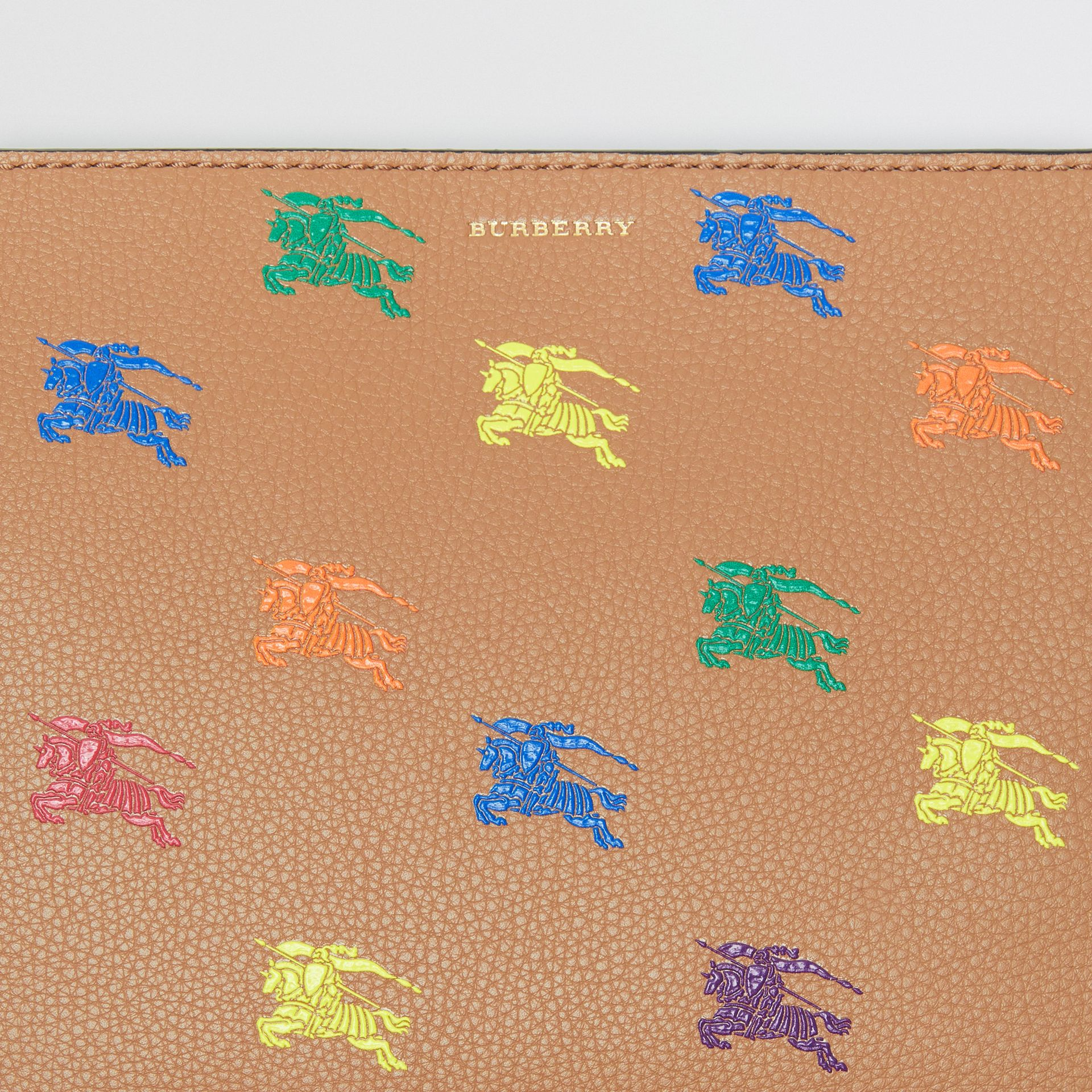 Medium Equestrian Knight Leather Clutch in Light Camel - Women | Burberry - gallery image 1