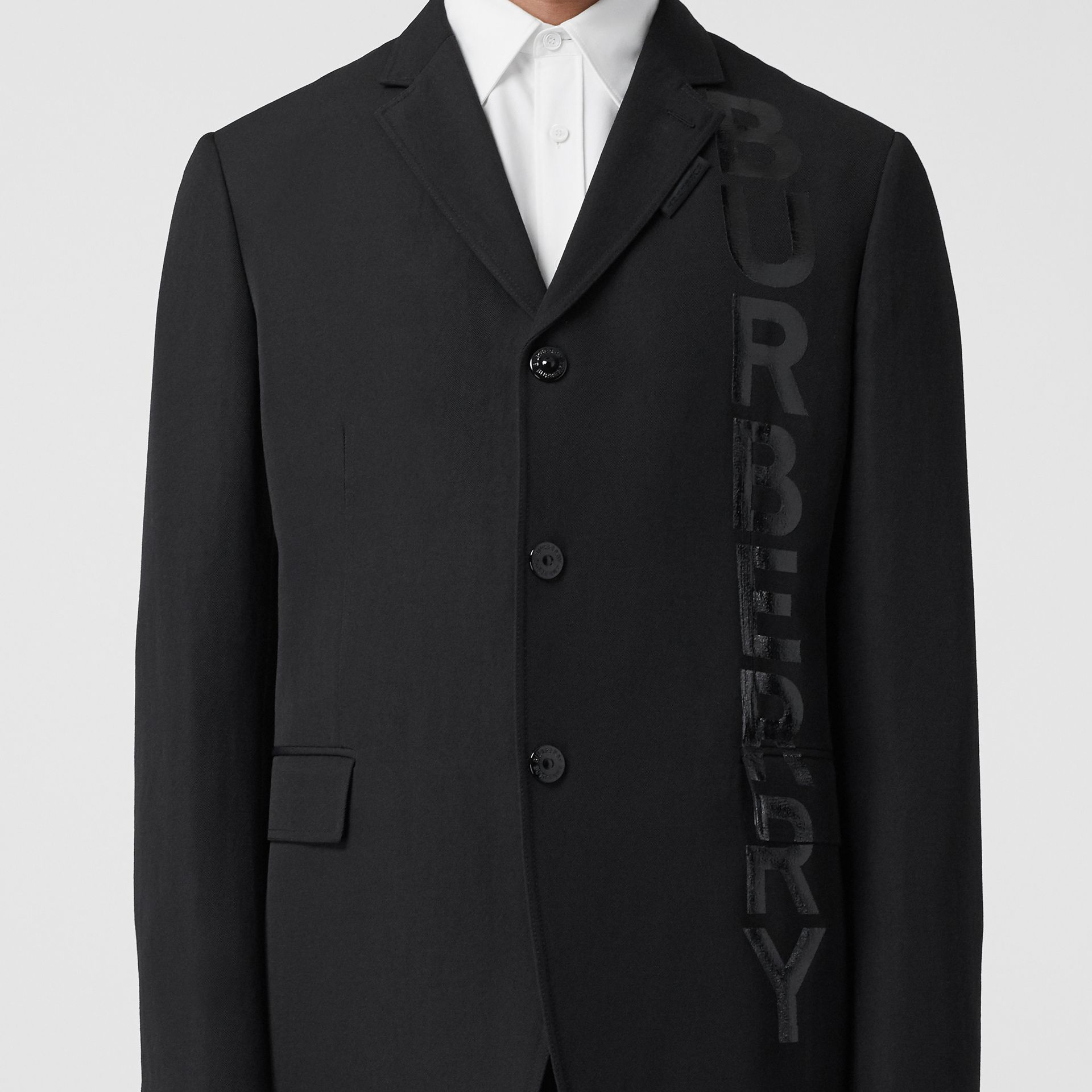 Logo Print Wool Gabardine Tailored Jacket in Black - Men | Burberry - gallery image 4
