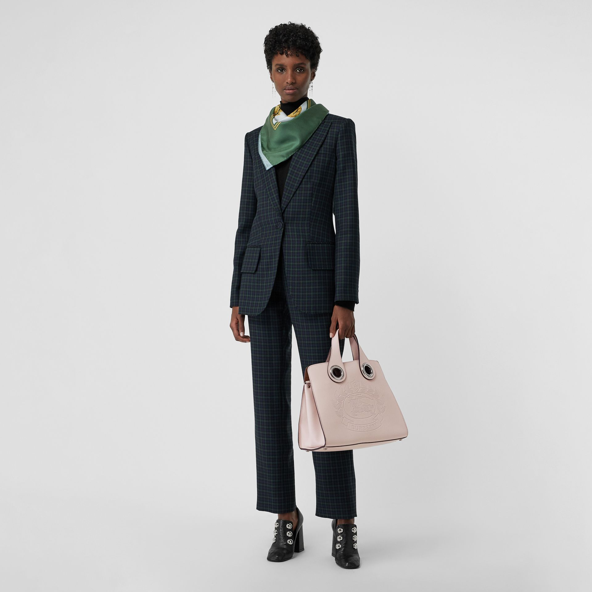 The Leather Crest Grommet Detail Tote in Chalk Pink - Women | Burberry - gallery image 2