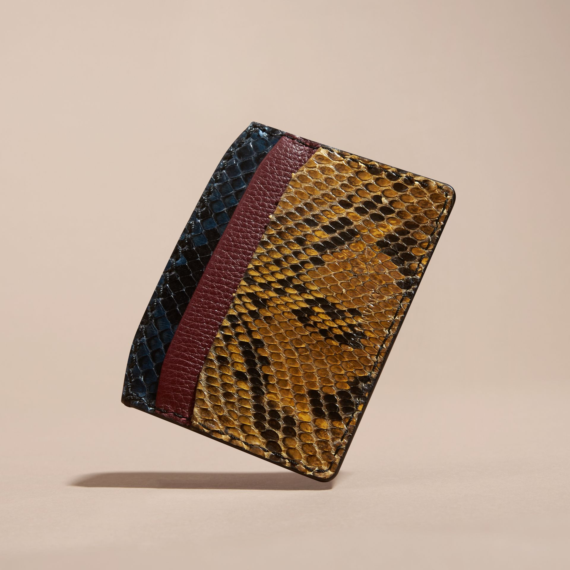 Colour Block Snakeskin and Leather Card Case Elderberry - gallery image 4