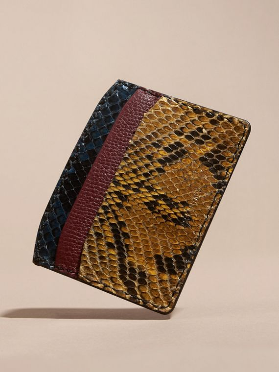 Colour Block Snakeskin and Leather Card Case Elderberry - cell image 3