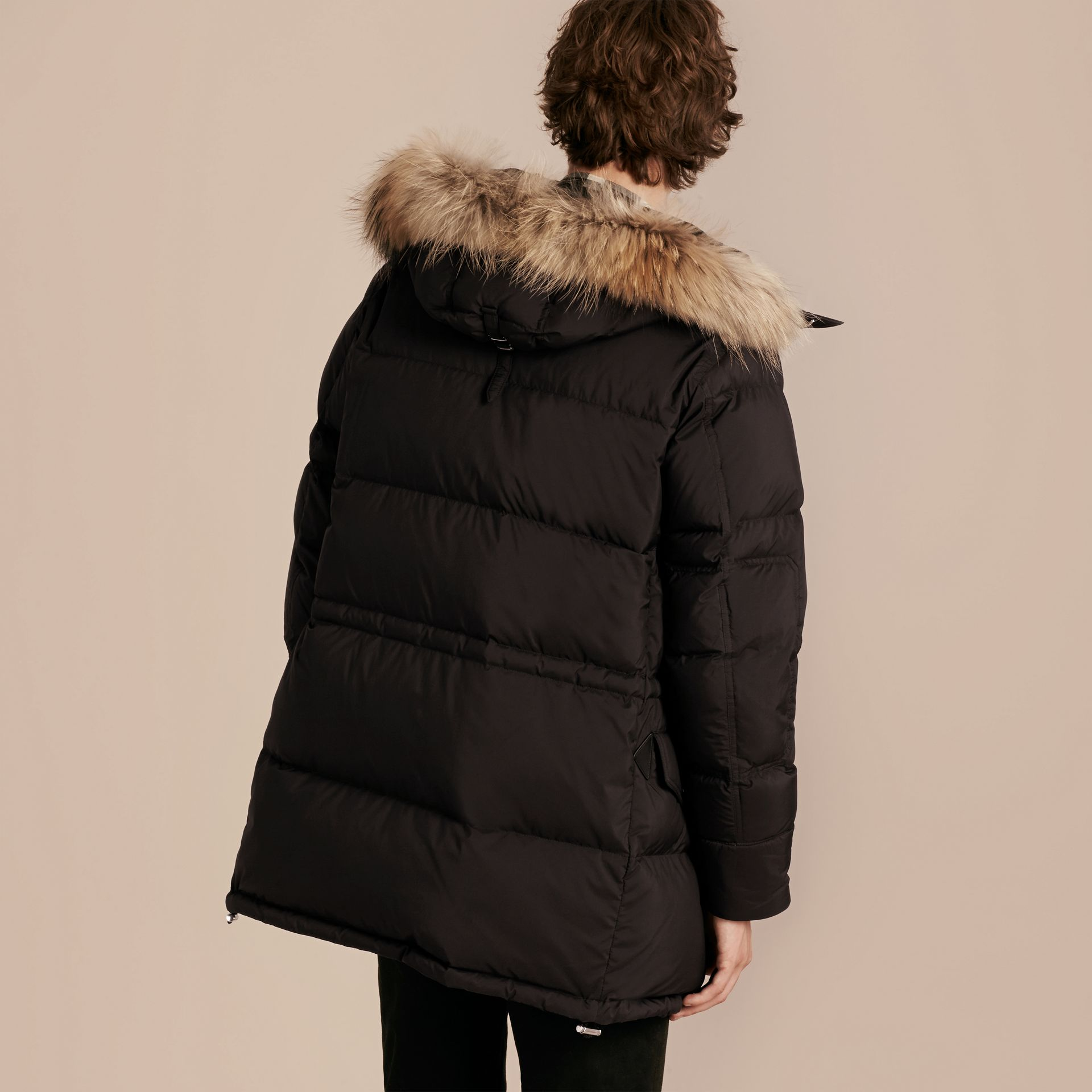 Black Down-filled Coat with Detachable Fur Trim - gallery image 3