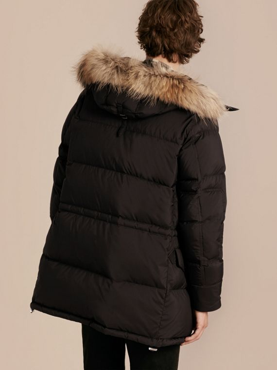 Black Down-filled Coat with Detachable Fur Trim - cell image 2