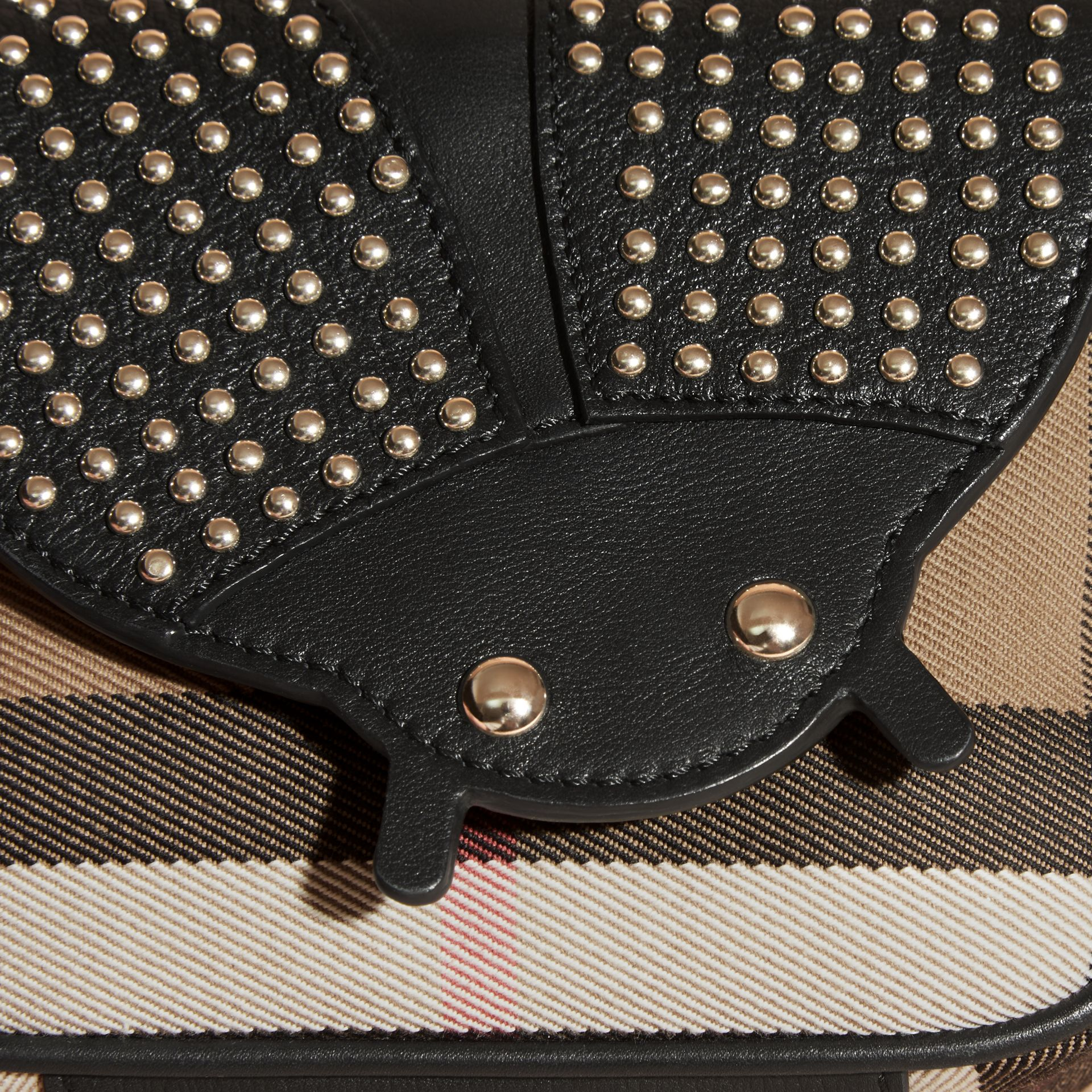 Black Canvas Check and Studded Ladybird Leather Crossbody Bag - gallery image 2