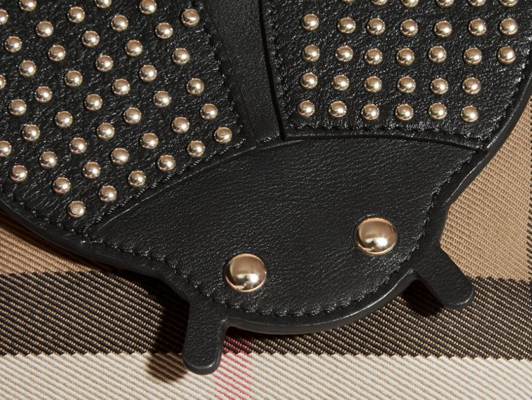 Black Canvas Check and Studded Ladybird Leather Crossbody Bag - cell image 1