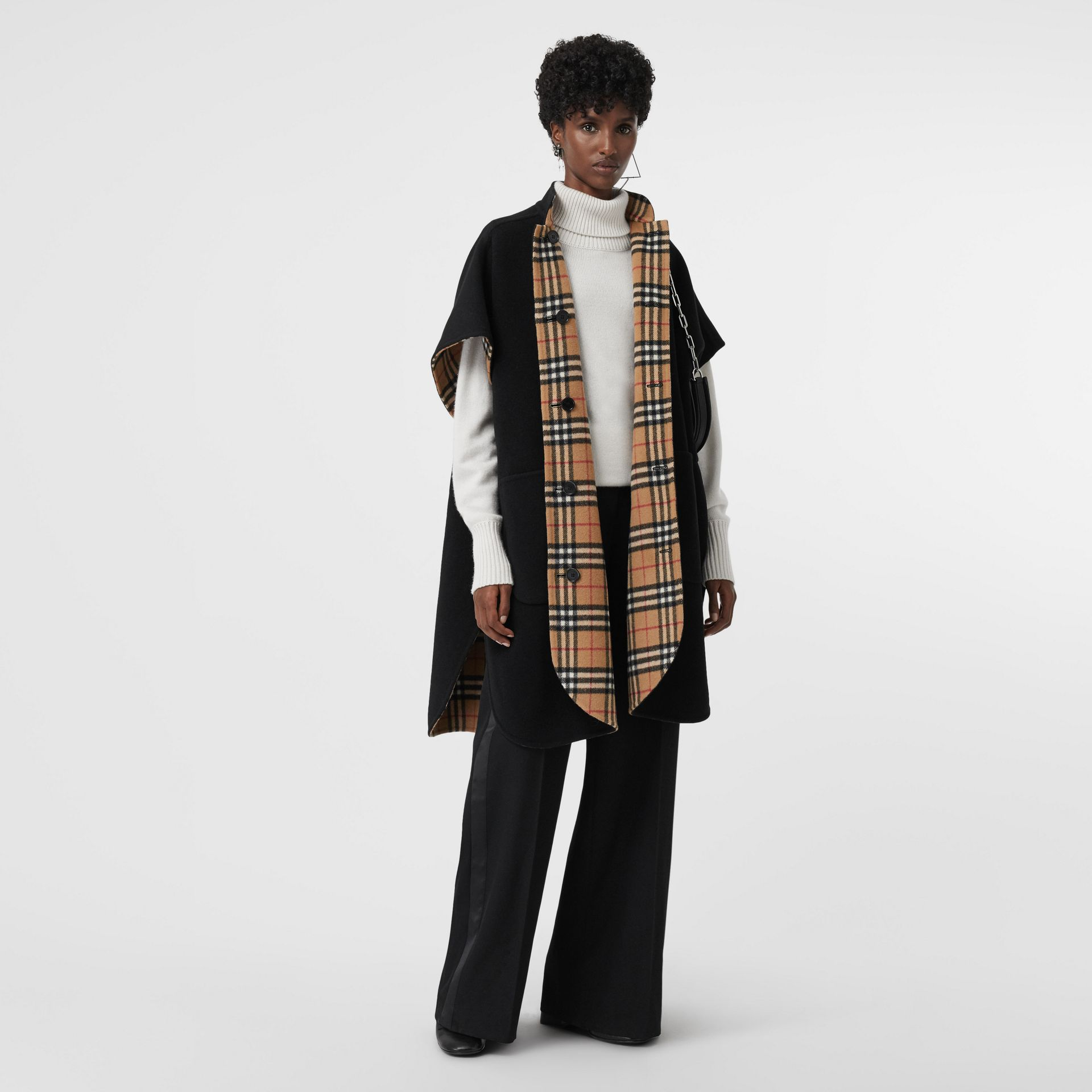 Reversible Vintage Check Poncho in Black - Women | Burberry - gallery image 0