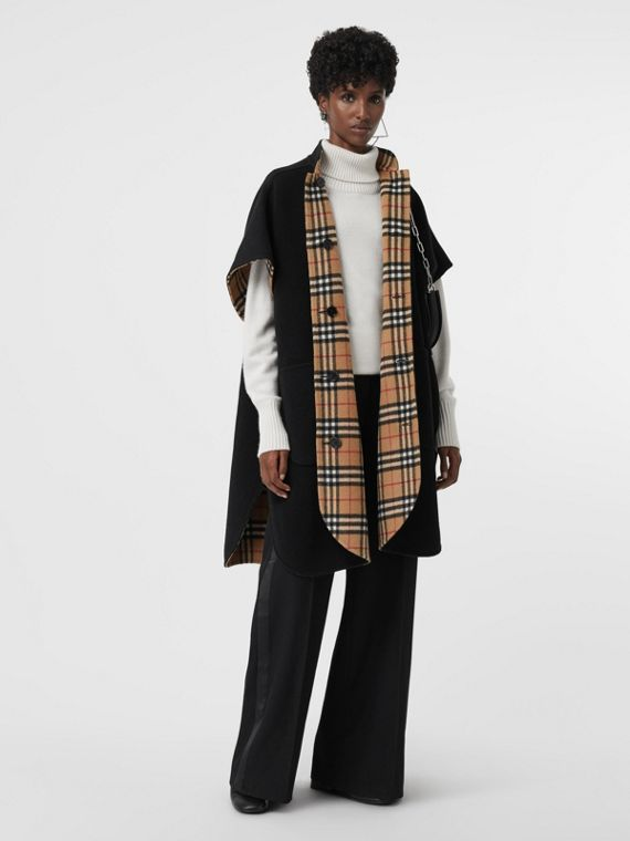 Reversible Vintage Check Poncho in Black