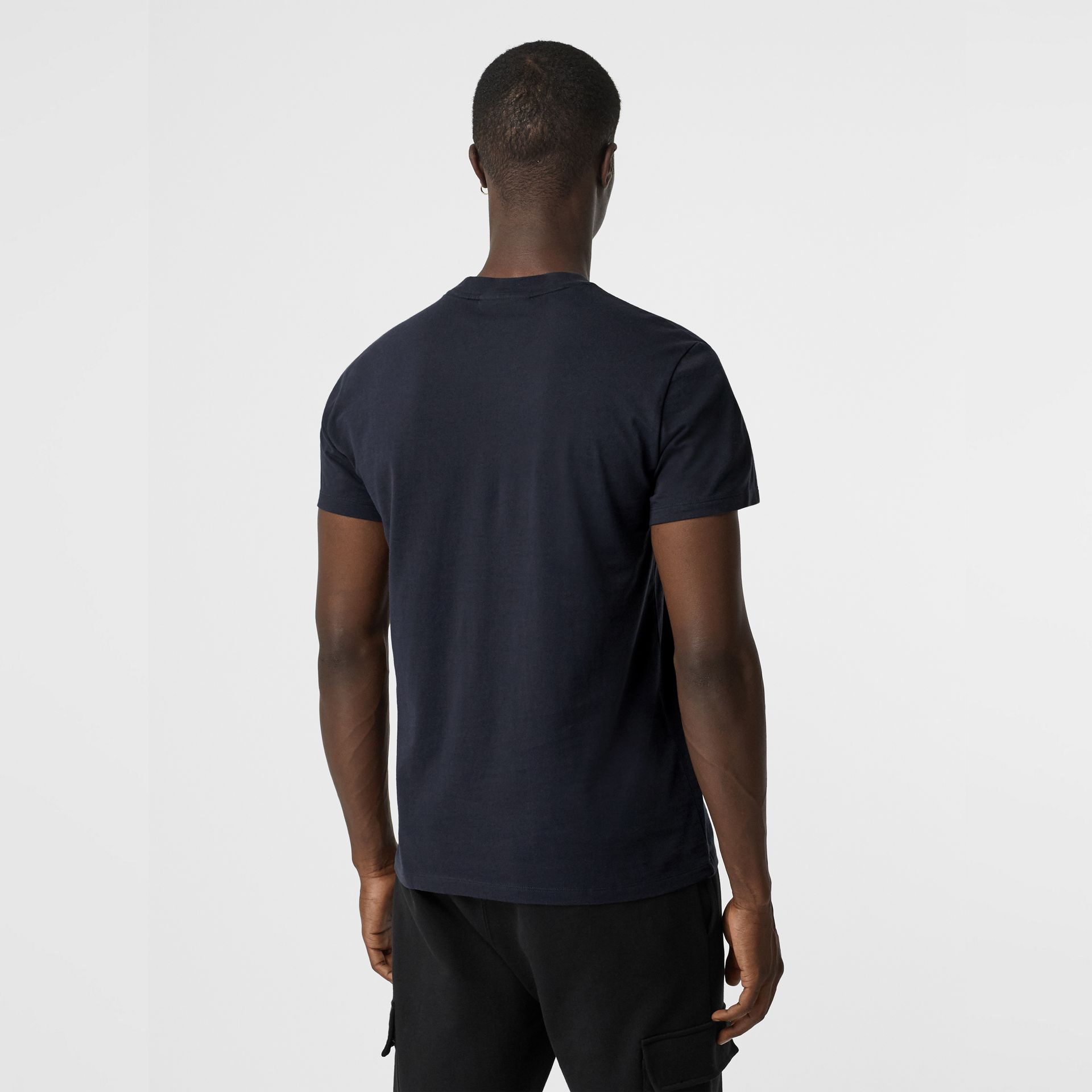 Archive Logo Cotton T-shirt in Navy - Men | Burberry - gallery image 2