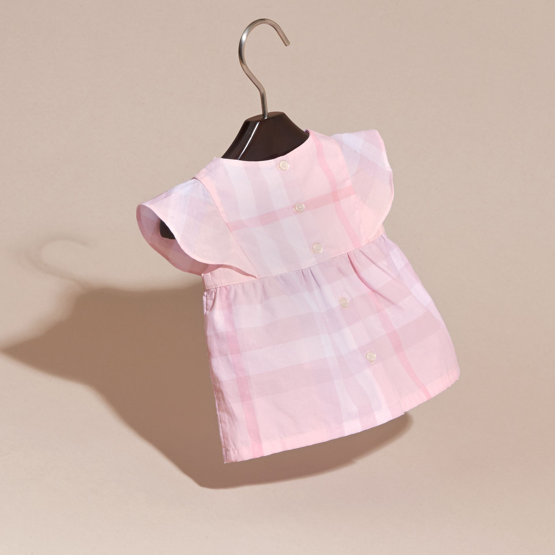 Check Cotton Pin Pleat Top and Bloomers in Ice Pink | Burberry - gallery image 4