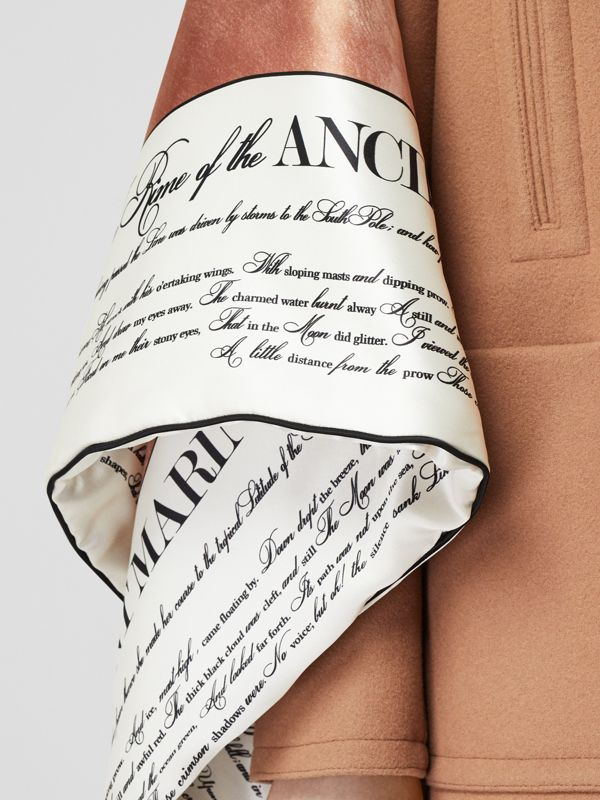 Mariner Print Blanket Detail Technical Wool Pea Coat in Warm Camel - Women | Burberry - cell image 3