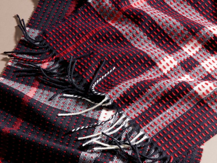 Navy check The Classic Cashmere Scarf in Check with Topstitch Detail Navy - cell image 4