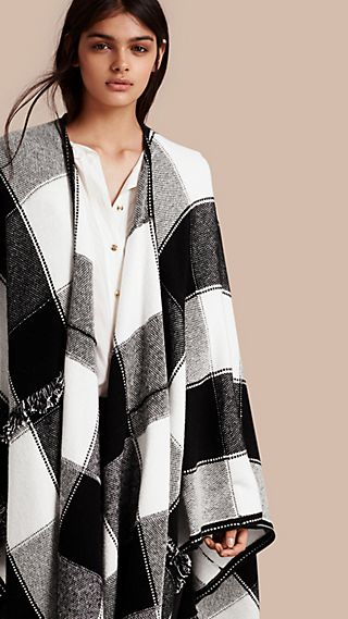 Check Wool Cashmere Cape with Fringing