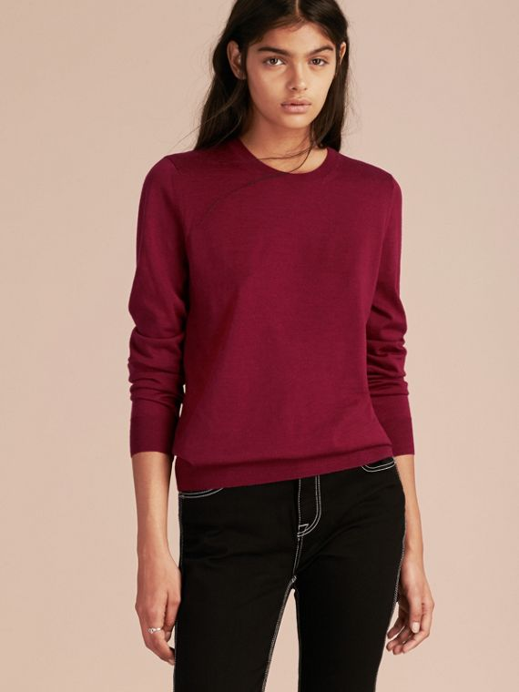 Crimson Check Detail Merino Wool Crew Neck Sweater Crimson - cell image 2