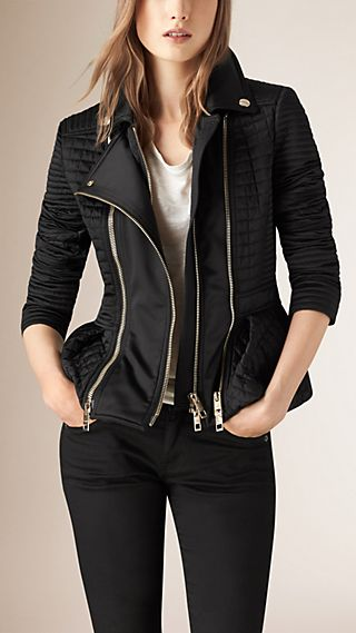 Quilt Detail Technical Biker Jacket