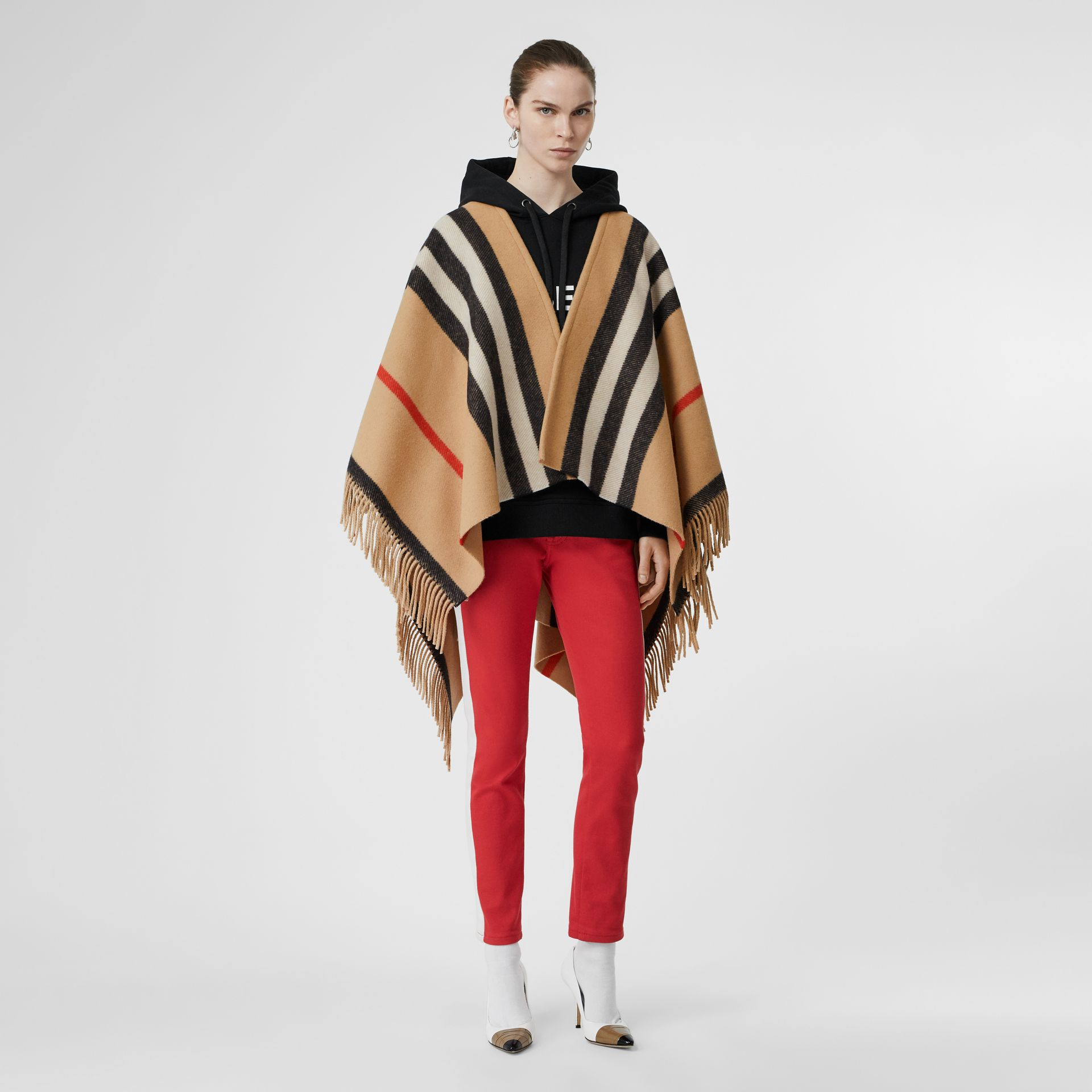 Striped Wool Cape in Camel - Women | Burberry Australia - gallery image 0