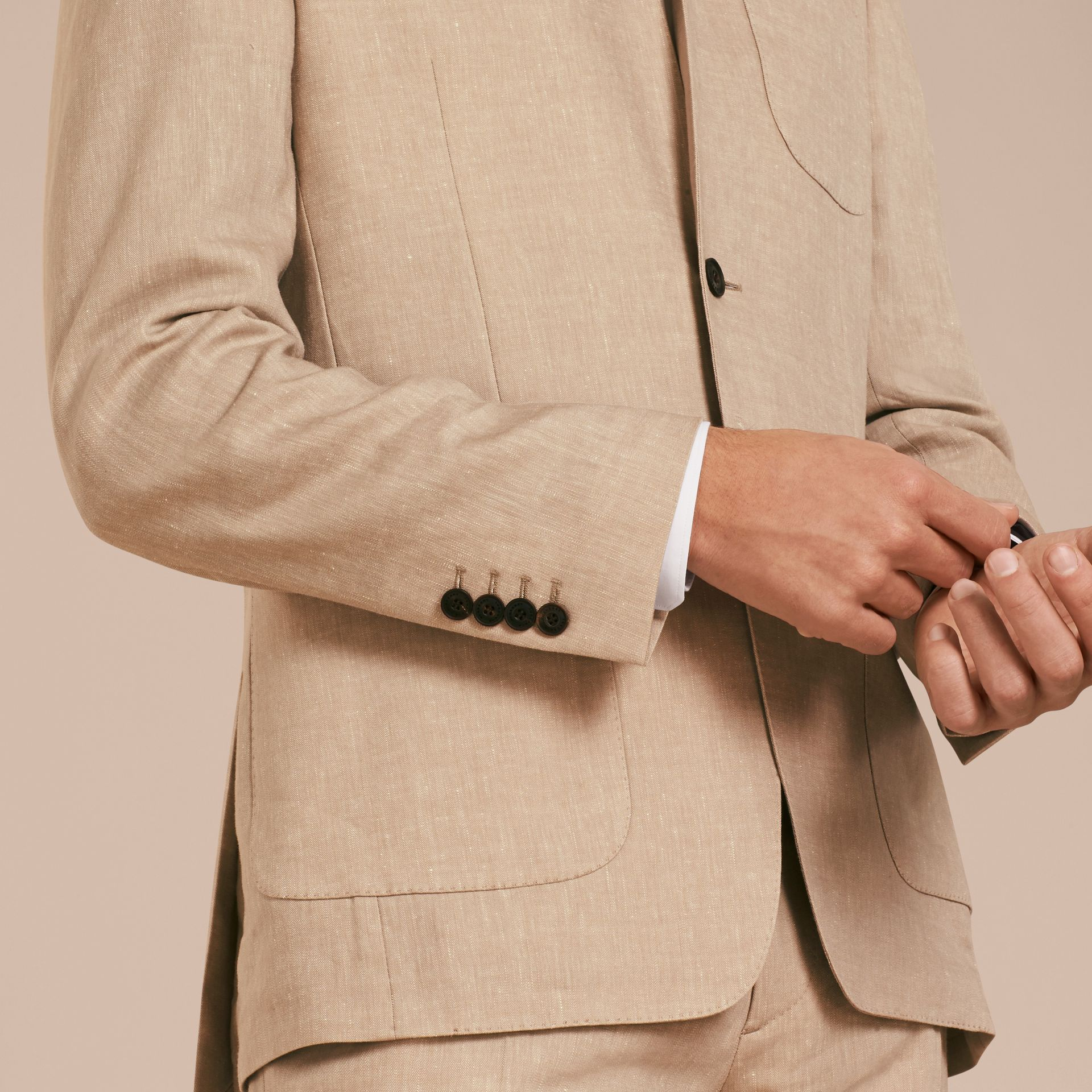 Modern Fit Travel Tailoring Linen Cashmere Wool Suit - Men | Burberry - gallery image 5