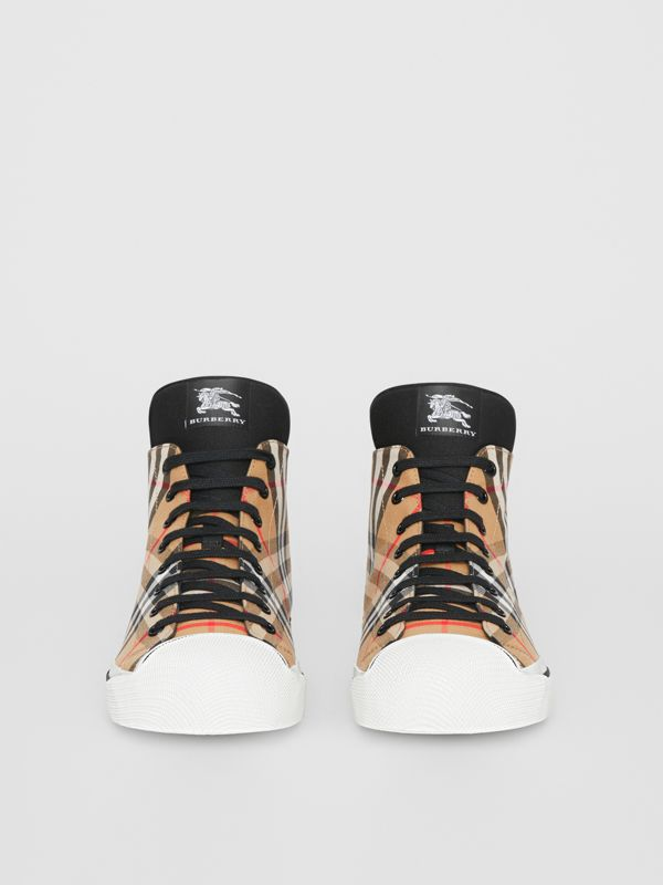 Vintage Check High-top Sneakers in Antique Yellow - Men | Burberry - cell image 3