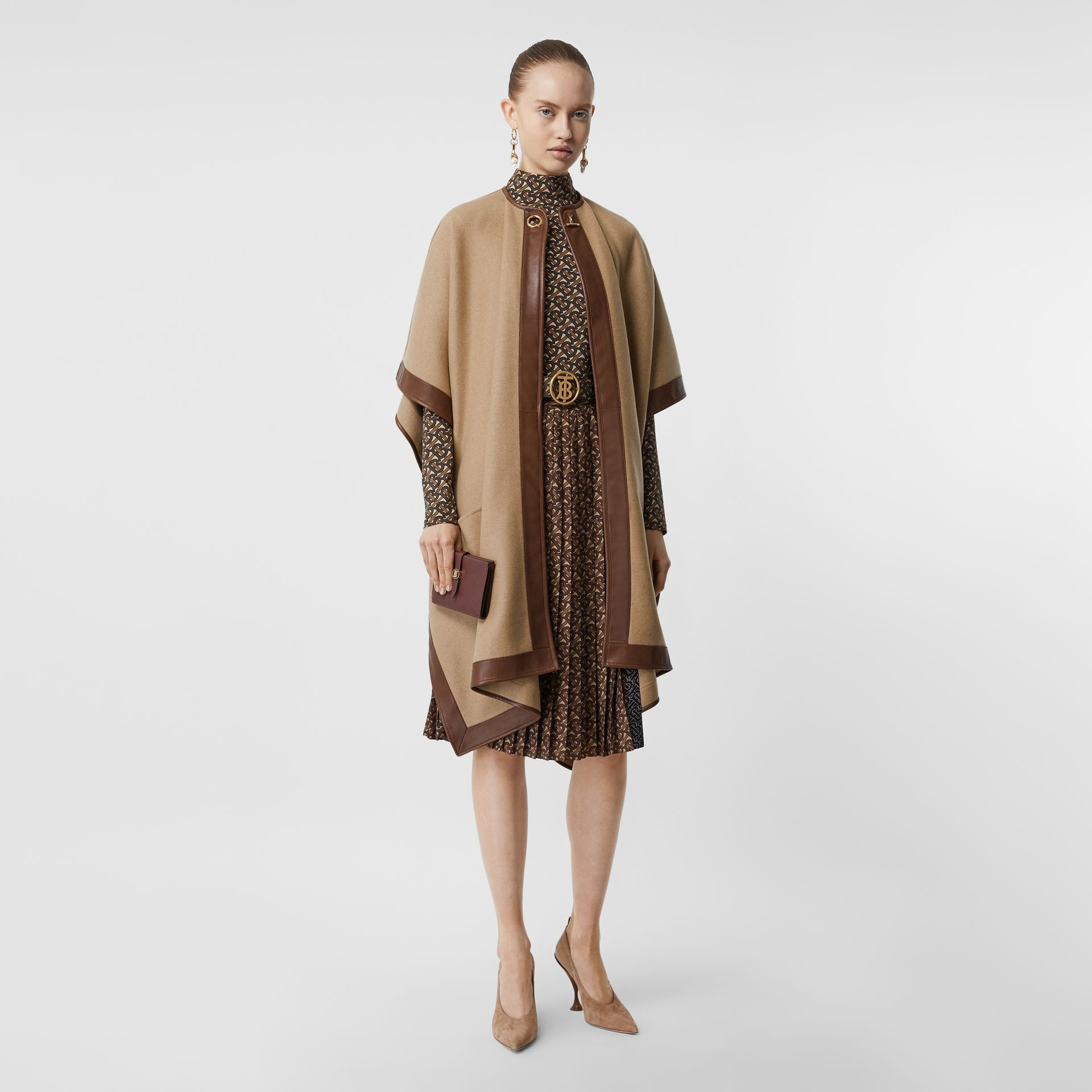 Lambskin Trim Double-faced Cashmere Cape in Camel | Burberry United Kingdom - gallery image 0