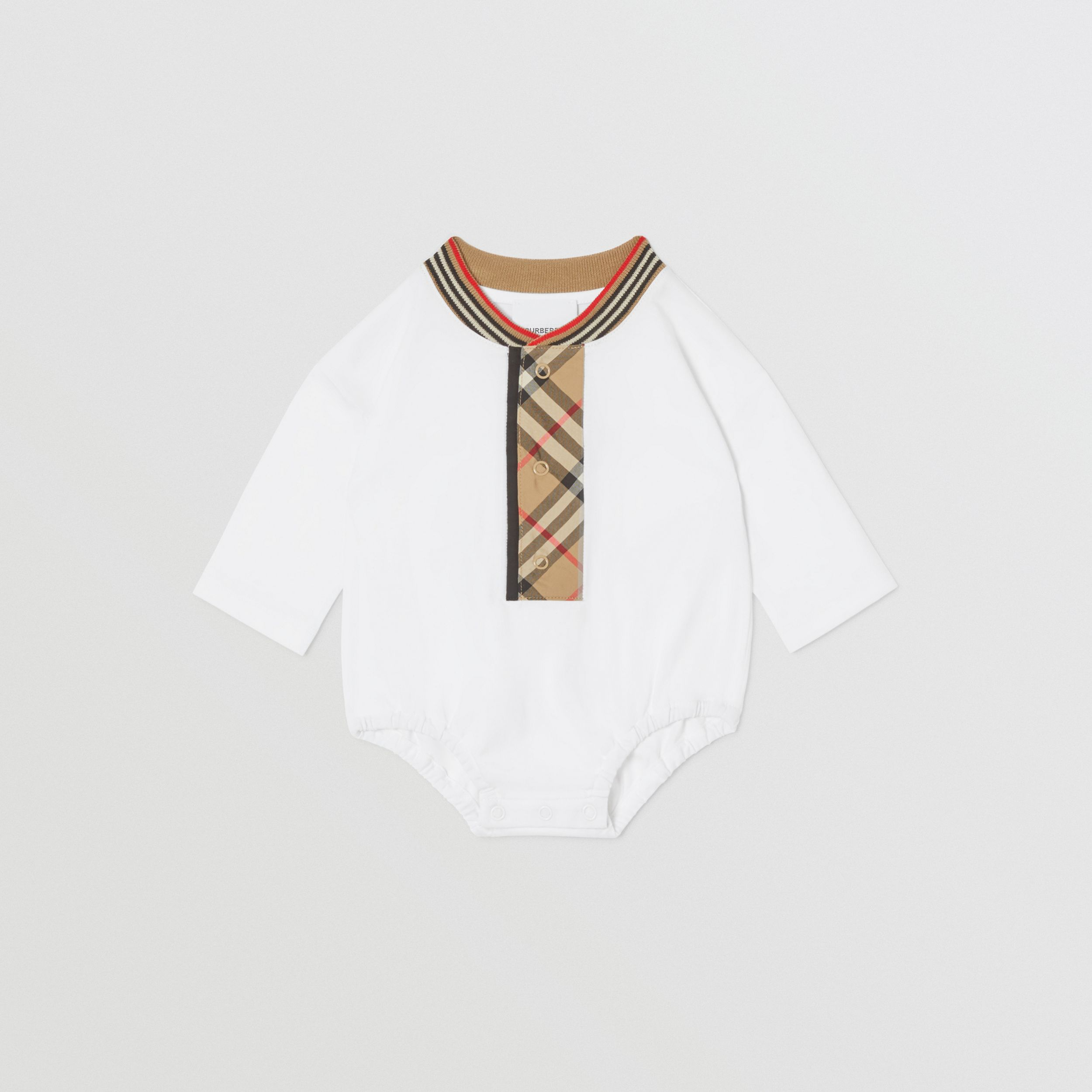 Check Trim Organic Cotton Two-piece Baby Gift Set in White - Children | Burberry - 3