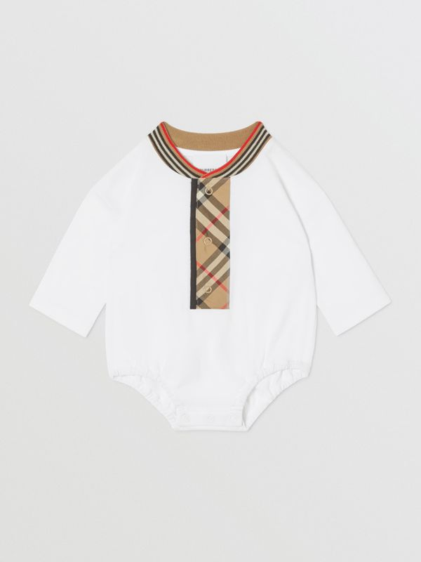 Check Trim Organic Cotton Two-piece Baby Gift Set in White - Children   Burberry United Kingdom - cell image 2