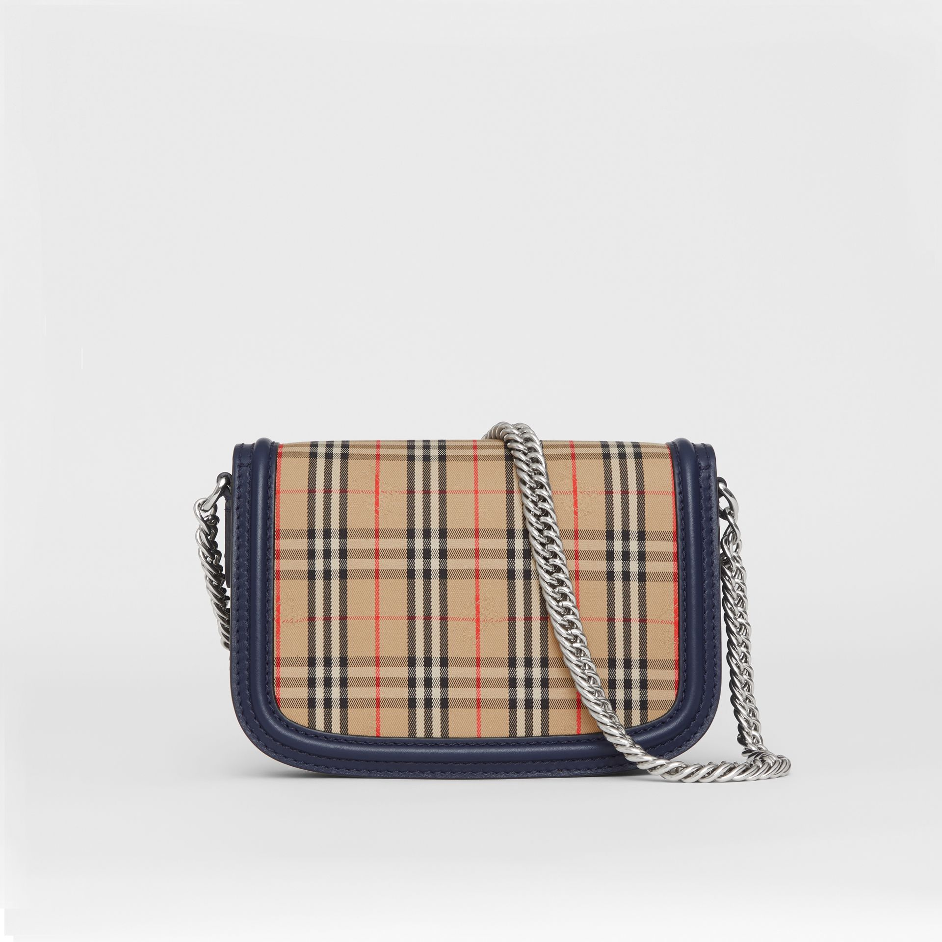 The 1983 Check Link Bag with Leather Trim in Ink Blue - Women | Burberry United Kingdom - gallery image 7