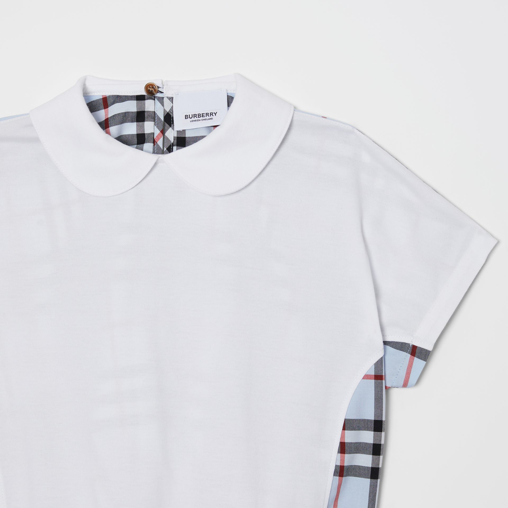 Blusa de algodão com recorte xadrez (Branco) | Burberry - galeria de imagens 4