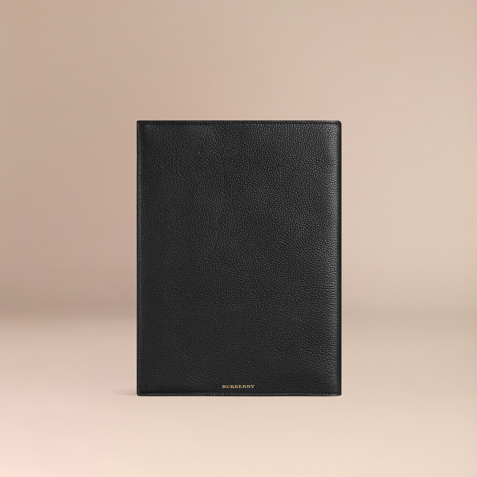 Black Grainy Leather A4 Notebook Black - gallery image 4