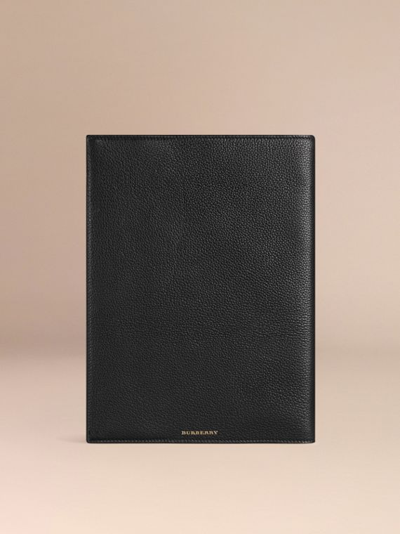 Black Grainy Leather A4 Notebook Black - cell image 3