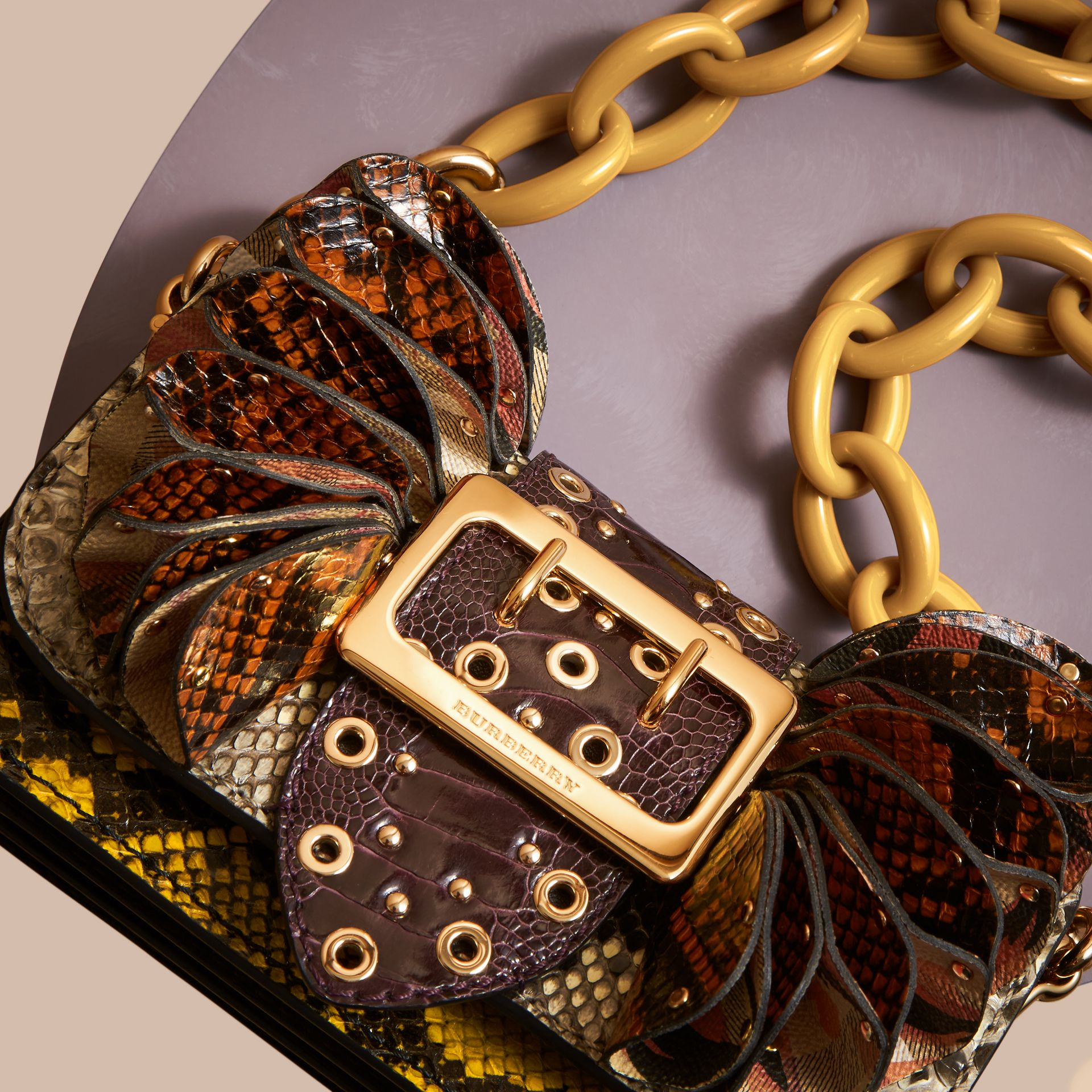 The Ruffle Buckle Bag in Snakeskin, Ostrich and Check Natural - gallery image 6